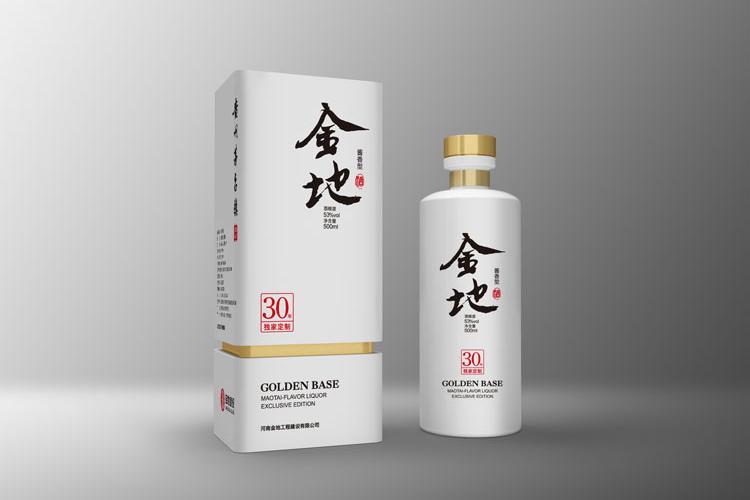 金地白酒包装设计,金地白酒瓶贴设计,金地白酒品牌形象塑造